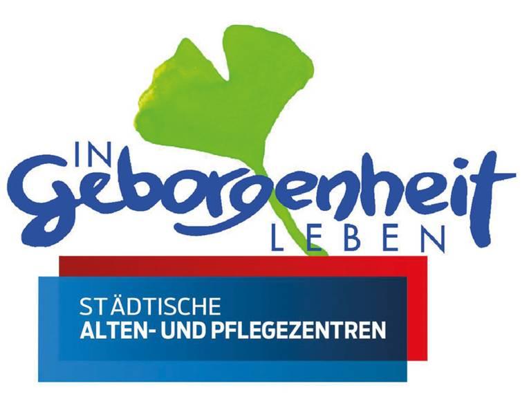 """Das Logo der Städtischen Alten- und Pflegezentren mit einem Gingko-Blatt und dem Schriftzug """"In Geborgenheit leben"""""""