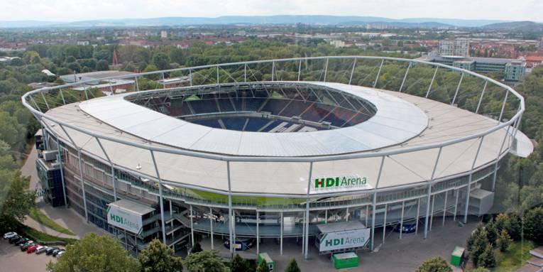 Die HDI-Arena aus der Vogelperspektive