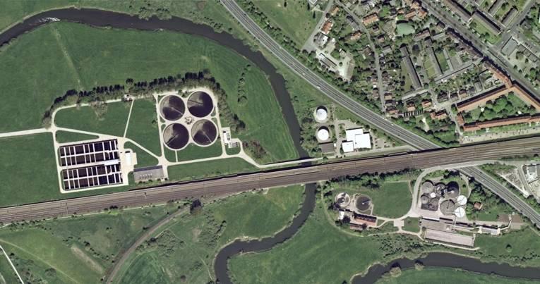 Luftbild des Klärwerks Herrenhausen