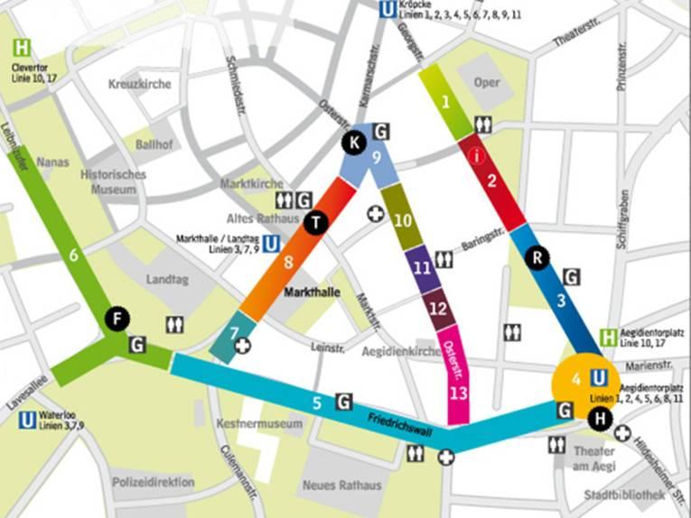 Aktionsflächen und Bühnen sind auf der Innenstadtkarte Hannovers farbig markiert