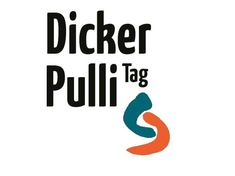 Die Wörter Dicker Pulli Tag vor dunkelrosanem Hintergrund.