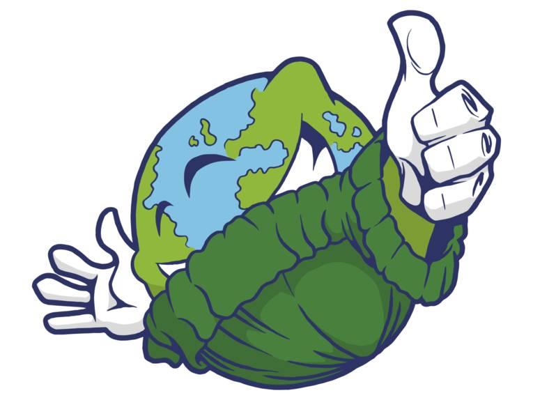 Illustration eines Erdballs, der einen grünen Pullover trägt.