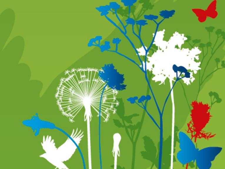 Gezeichneter roter Schmetterling und weißer Adler auf grünem Grund schweben über einer Blumenwiese