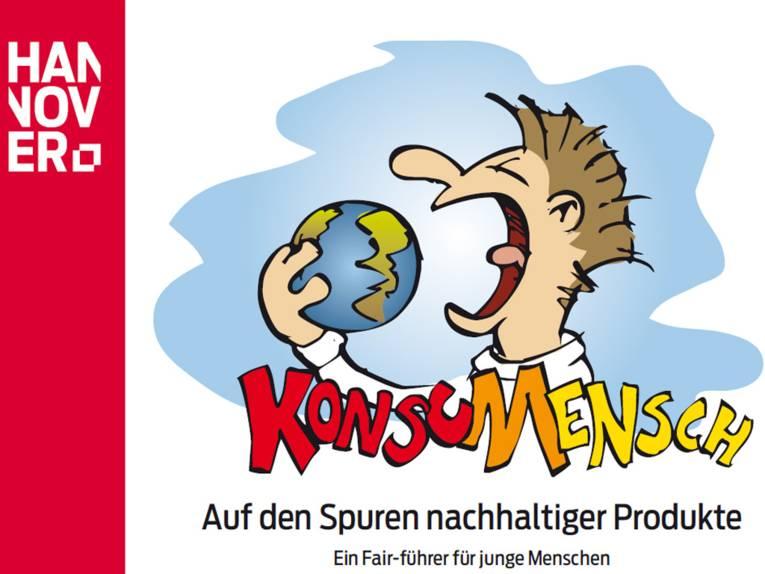 Karikatur eines Menschen, der sorglos die Erde konsumiert