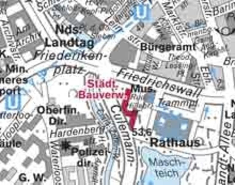Kartenausschnitt mit Sitz der Bauverwaltung