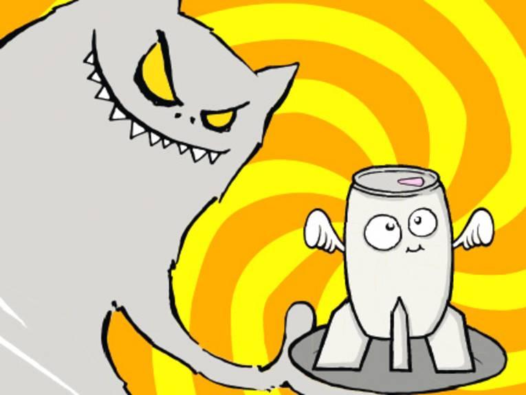 Cartoondarstellung: Ein Monster serviert einen Energy-Drink auf einem Tablett