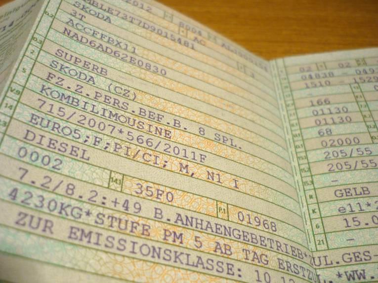 Einträge in einer Zulassungsbescheinigung