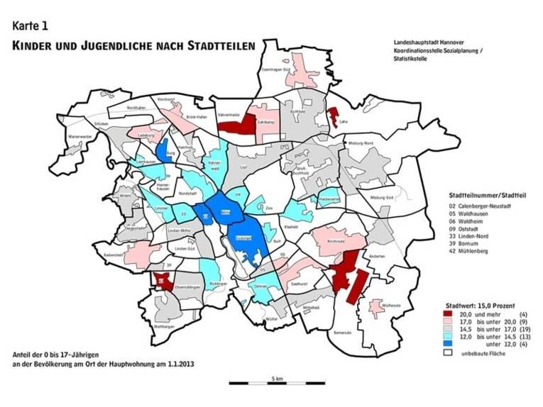 Stadtteilkarte, in der die Anzahl der Kinder und Jugendlichen farbig markiert ist