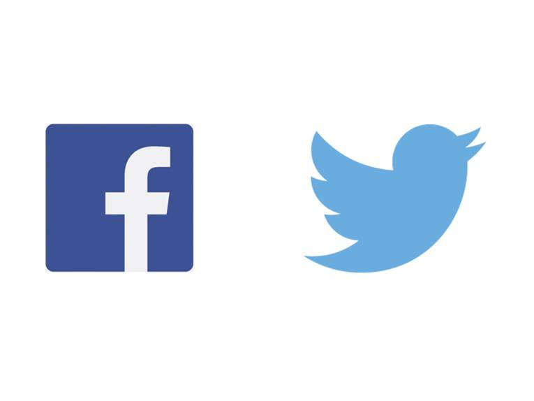 Das Logo von Facebook: ein weißes f auf blauem Grund; und das Logo von Twitter: ein blauer Vogel auf weißem Grund