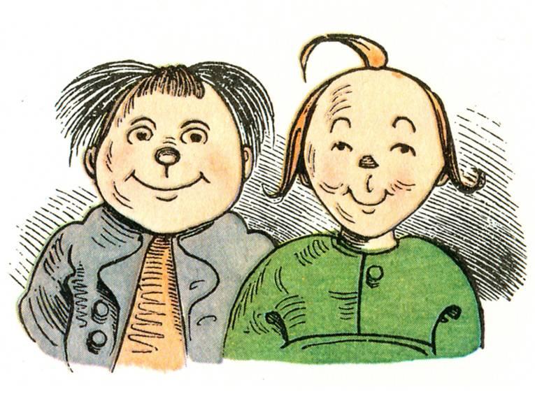 Eine Zeichung von zwei Jungen (Max und Moritz).
