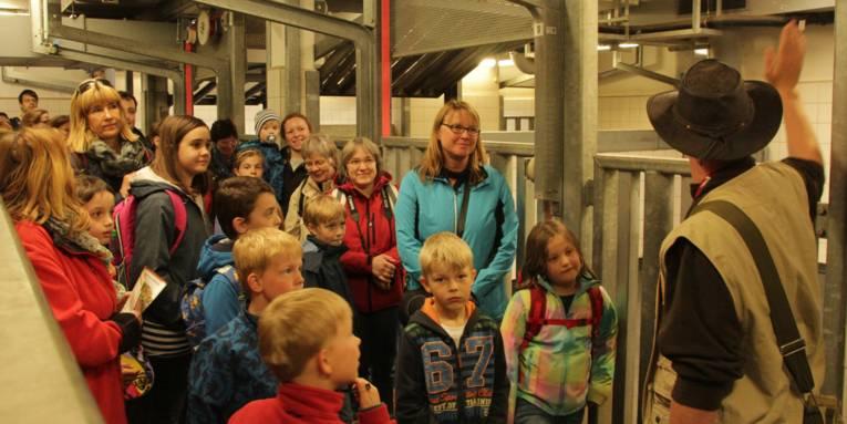 Kinder und Erwachsene mit einem Scout im Stall.