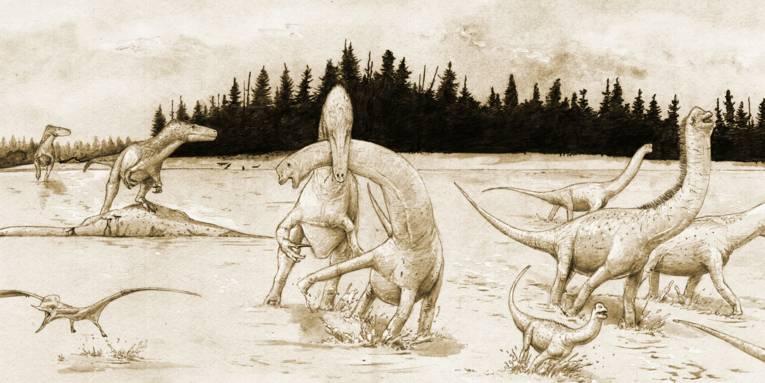 Skizze von Dinosauriern