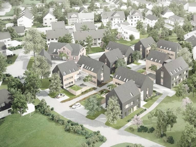 Grafik einer modernen Wohnsiedlung.