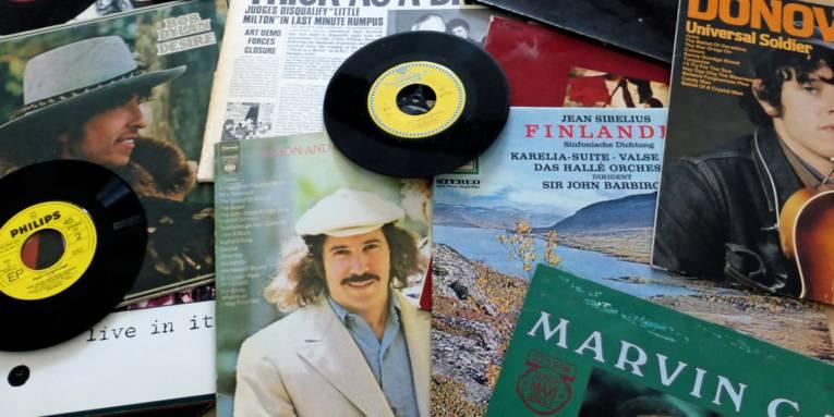 Ausgebreitete Schallplatten