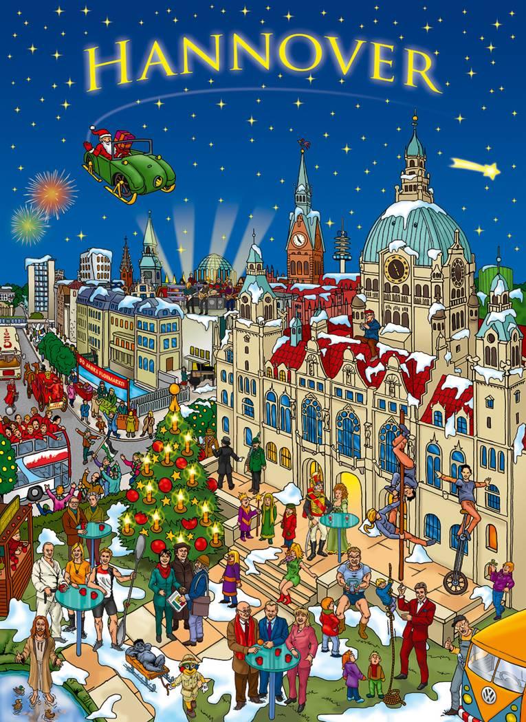 Das Motiv des Adventskalenders zeigt eine große Weihnachtsshow im Maschpark.