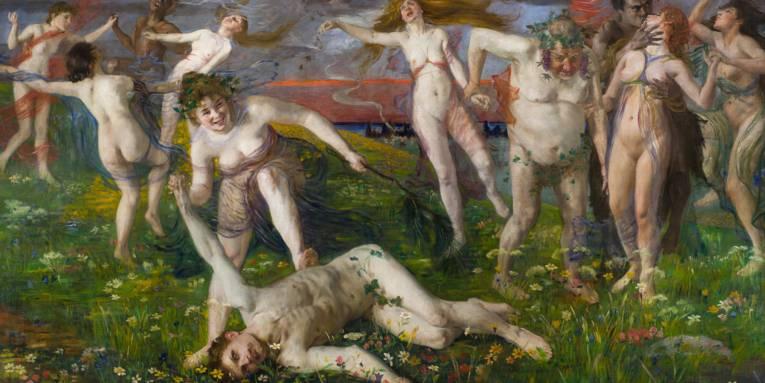 Ein Gemälde zeigt nackte, tanzende Menschen.