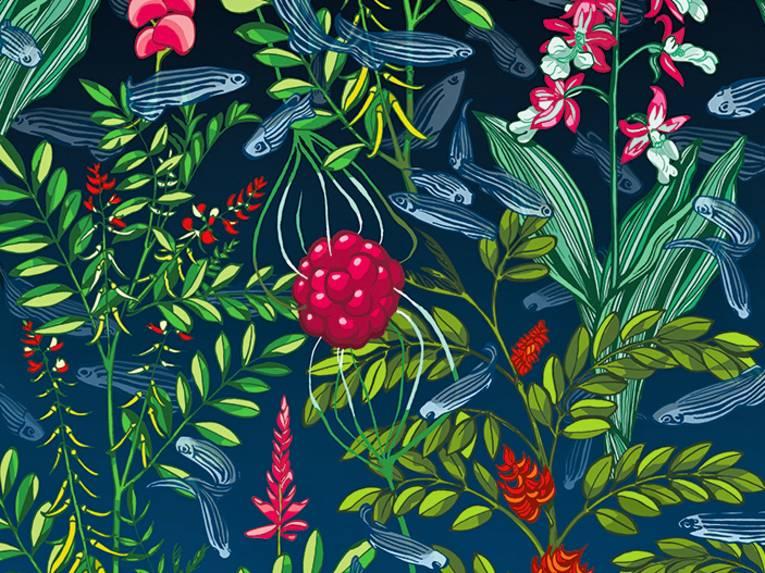 Grafik, die eine Beere umgeben von Pflanzen zeigt