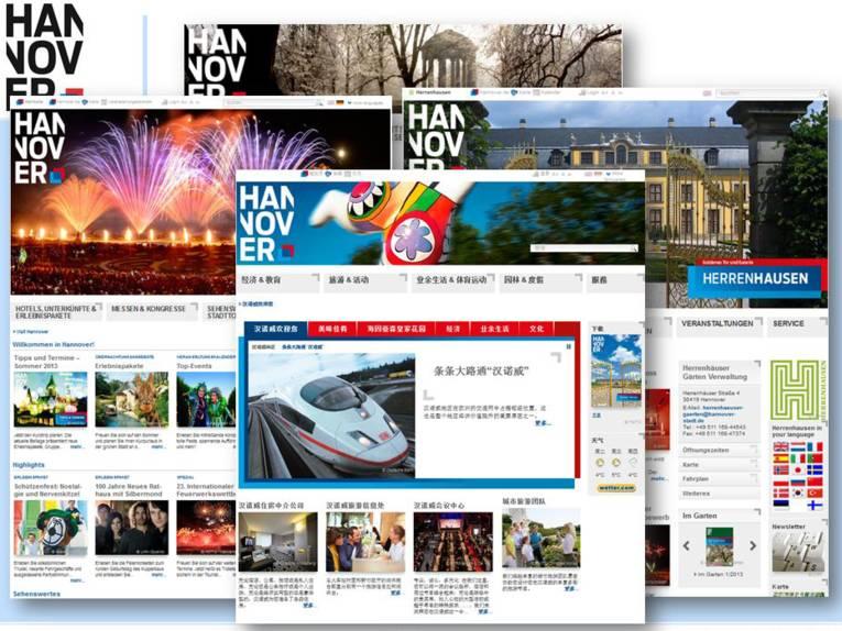 Collage von Internetseiten