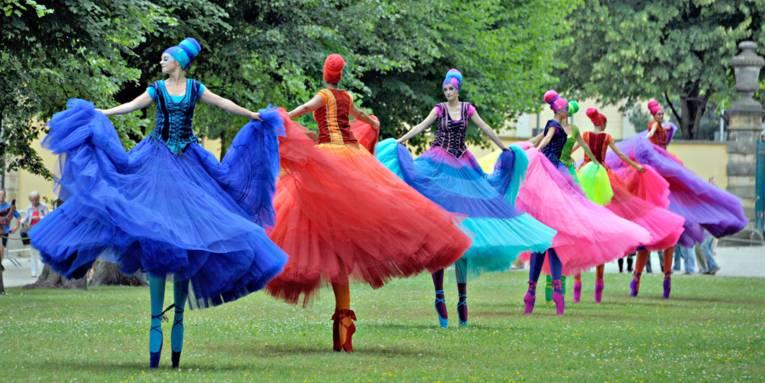 Sieben auf einer Grasfläche aufgereihte Tänzerinnen