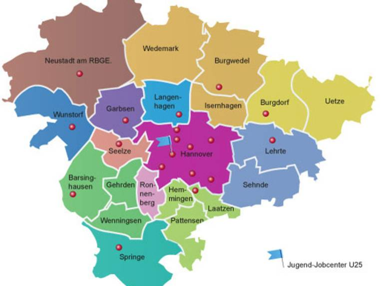 Karte JobCenter Region