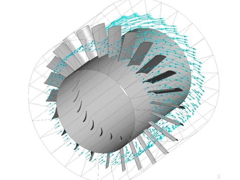 Schematische Darstellung einer Strömungssimulation an einem Schaufelrad.