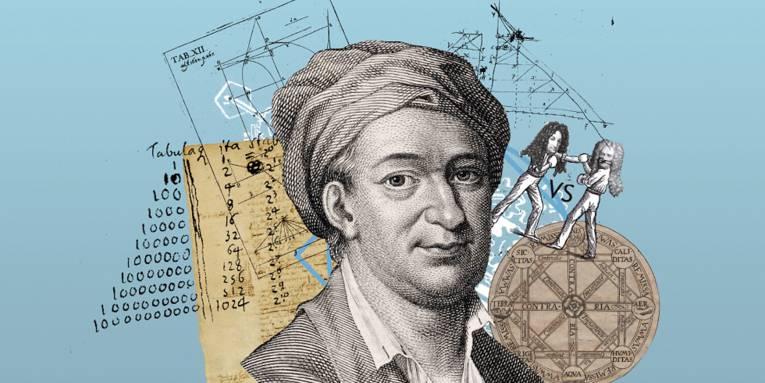 Collage von einer Porträtzeichnung eines Mannes mit mathematischen Berechnungen