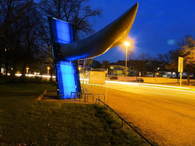 Leuchtende Bushaltestelle.