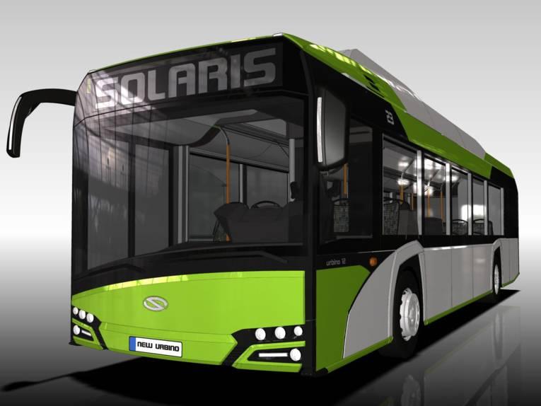 Computergrafik eines Busses von außen