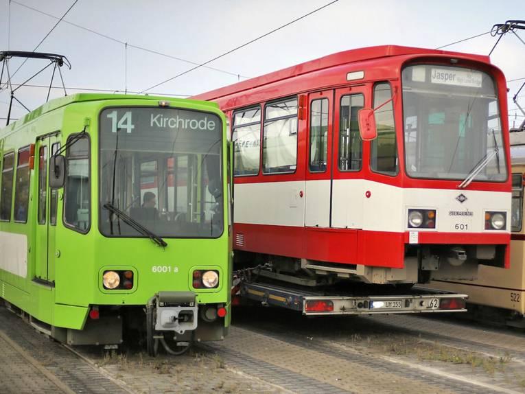Drei unterschiedliche Straßenbahnen