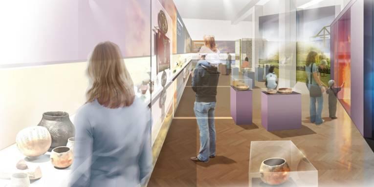 Grafische Darstellung eines Museumsflures mit Ausstellungsvitrinen und Besuchern.