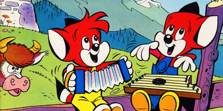 Titelbild eines Comichefts, das zwei Fantasie-Figuren mit Musikinstrumenten zeigt.