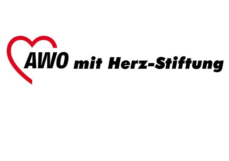 Logo mit einem Herz und der Schrift AWO mit Herz-Stiftung