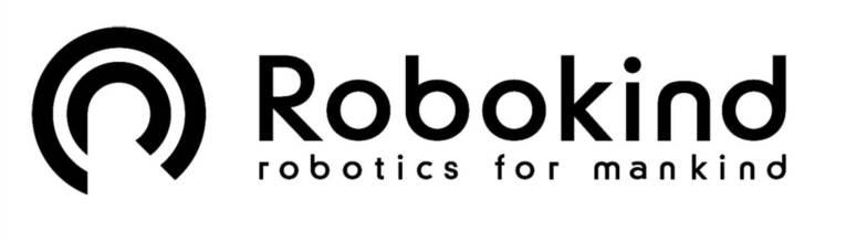 Logo mit zwei unten offenen Kreisen und der Schrift Robokind robotics for mankind