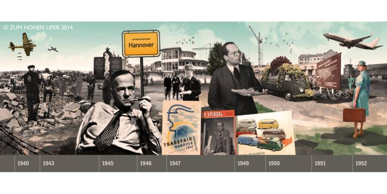 Collage mit Bildern aus Hannovers Stadtgeschichte.