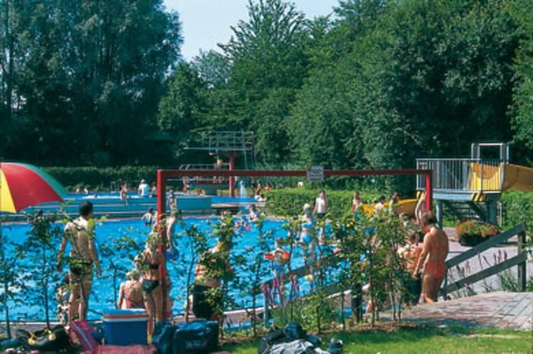 Ein Schwimmbecken unter freien Himmel umrandet von einer Hecke. Einige Menschen stehen am Beckenrand.