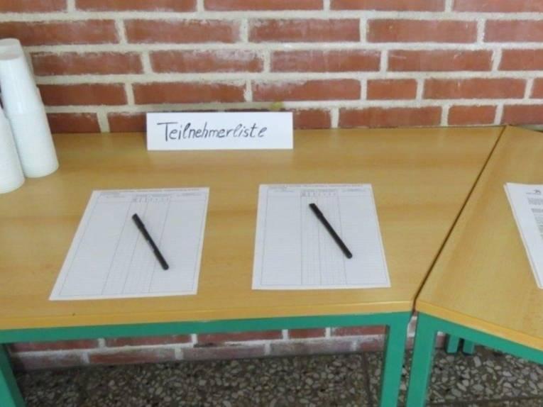 Teilnehmerliste der Auftaktveranstaltung.