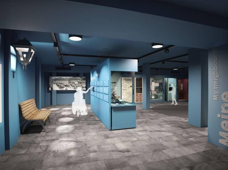Visualierung eines Ausstellungsraums.