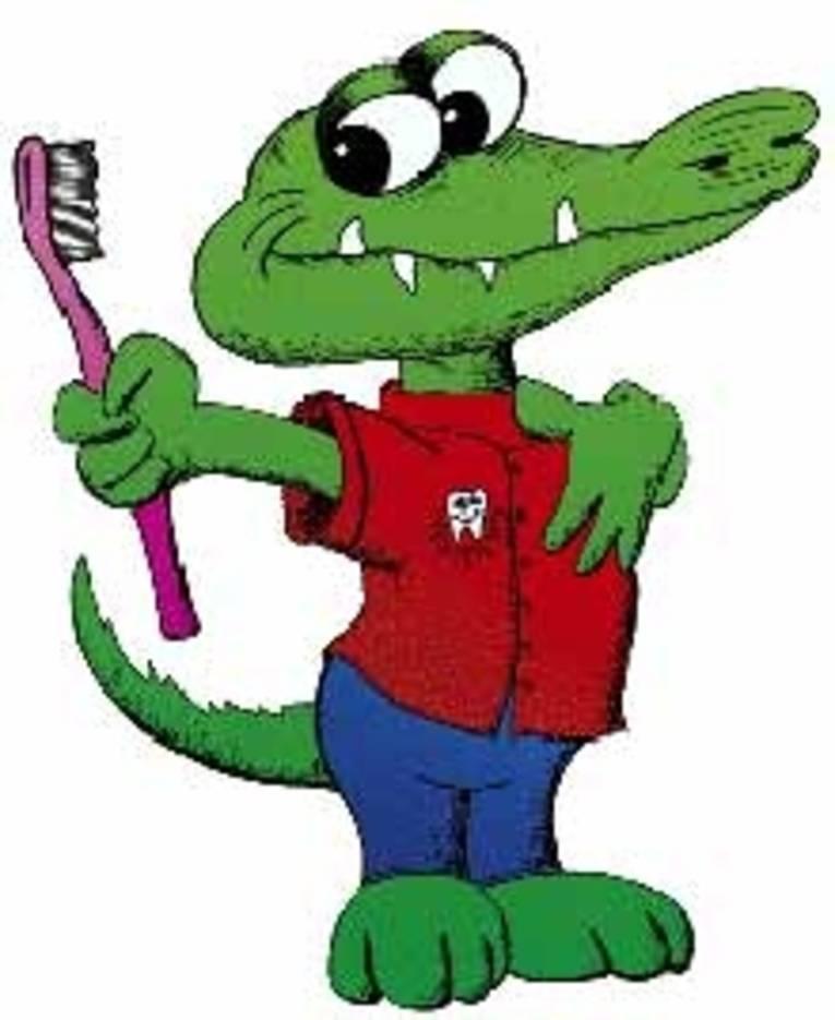 Krokodil im Anzug mit Zahnbürste