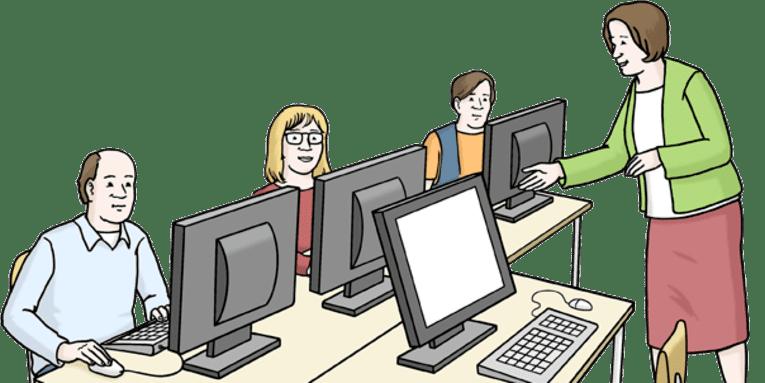 Personen lernen etwas am Computer.