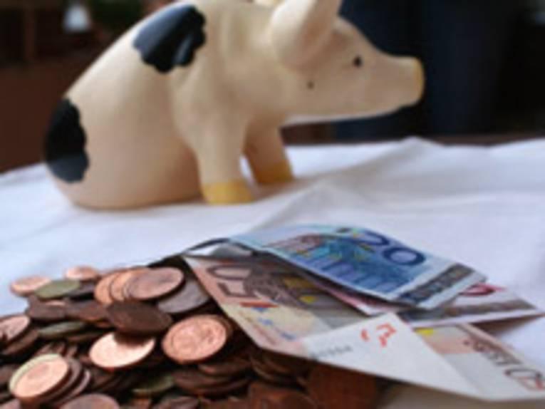 Geld mit Sparschwein im Hintergrund