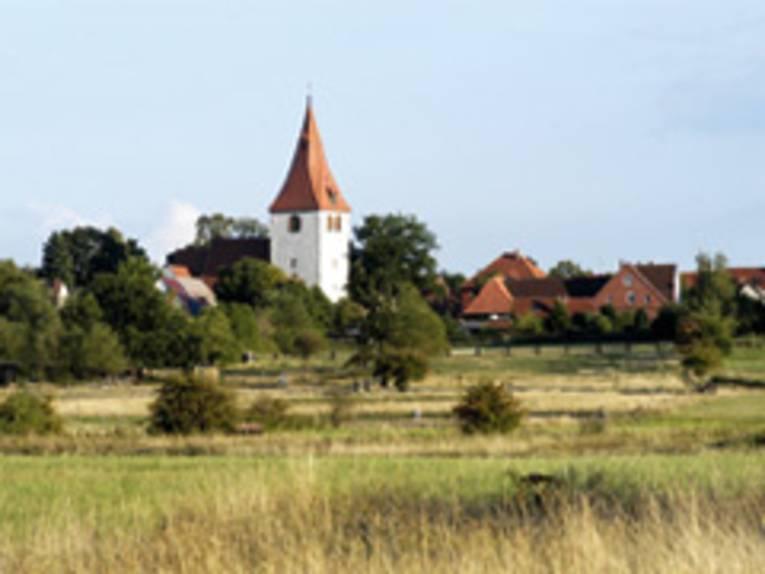 Blick über Wiesen auf die Marienkirche und Teile der Gemeinde Isernhagen