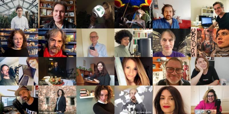 24 Künsterlinnen und Künstler, die meisten Fotos als Selfie aufgenommen.