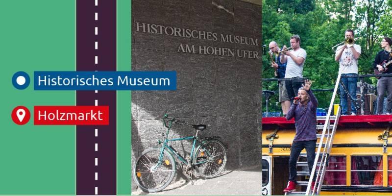 Bildcollage, die ein Museum und eine Band zeigt. Am Rand ist eine gezeichnete Straße zu sehen.
