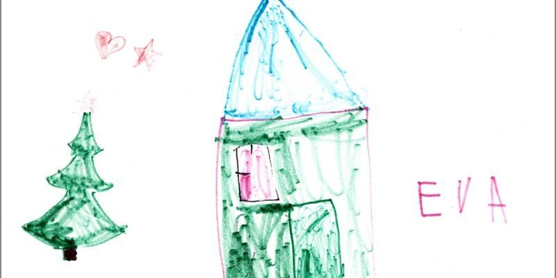 Eva hat in der Mitte ein Haus gemalt und links daneben einen Tannenbaum