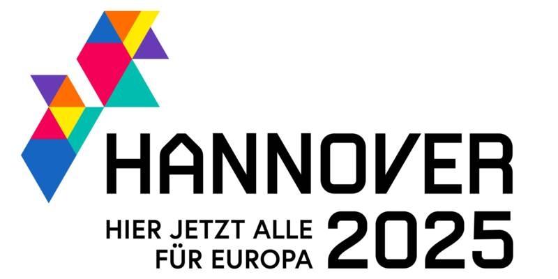 """Logo """"Hannover 2025 HIER JETZT ALLE für Europa"""""""