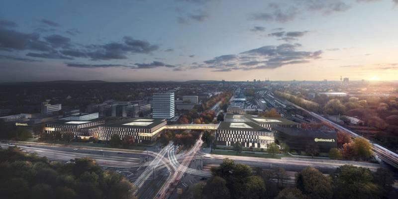 Blick auf den Entwurf der neuen Conti-Zentrale aus der Himmelsrichtung Osten