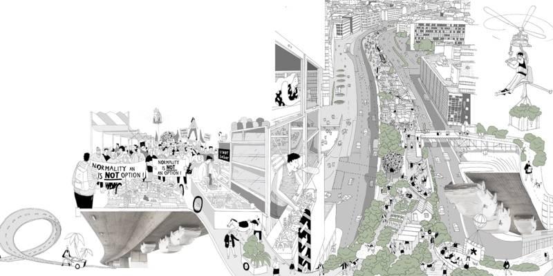Illustration aus Bid Book 2: Für Los! haben Menschen die Hochbrücke besiedelt und mit neuem Leben gefüllt und gezeigt, wie der gesperrte Raum anders genutzt werden kann.