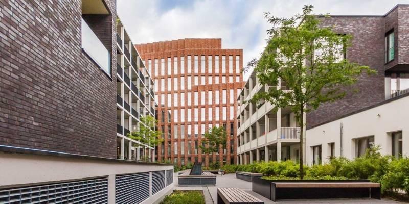Neubauten am Klagesmarkt: Innenhof mit Bäumen, Sträuchern und Sitzgelegenheiten