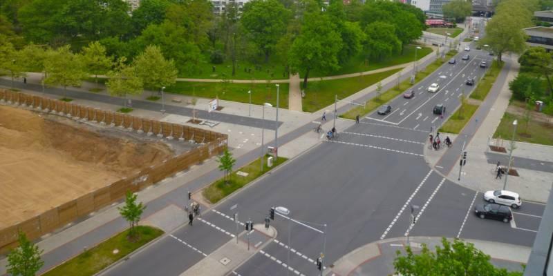 Luftaufnahme der T-Kreuzung am Klagesmarkt