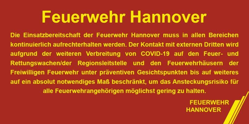 Kein Besuch von externen Dritten bei der Feuerwehr Hannover